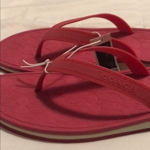 Coach Shoes - Coach Pink Flip Flops